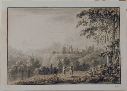Landscape with a Castle in the middle distance and dancing Figures in the foreground