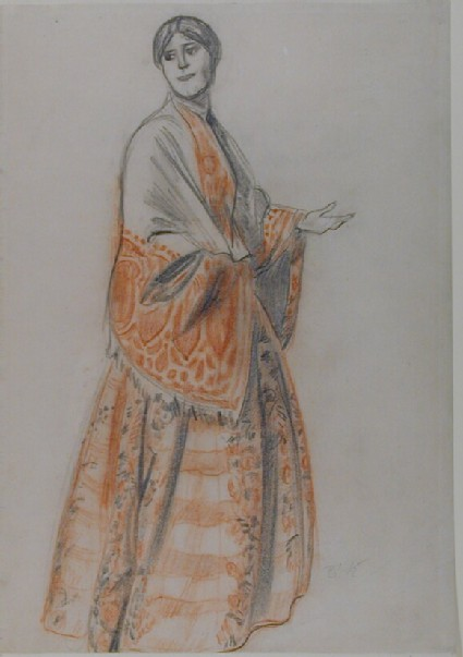 Design for Katya's Costume in Ostrovsky's 'The Storm'