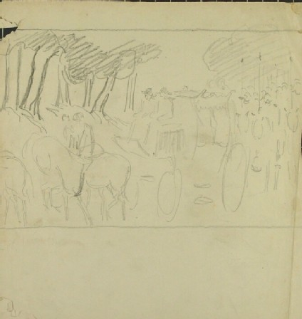 Recto: A Procession seen from the front<br />Verso: A procession from the side