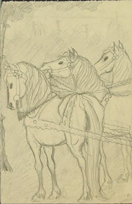 Recto: Three Horses in harness<br />Verso: Figure sketch, possibly of an acrobat