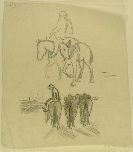 Man riding side-saddle and other studies