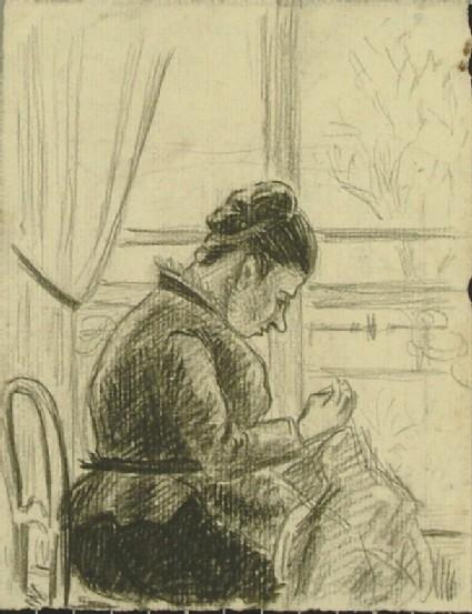 Woman sewing beside a Window