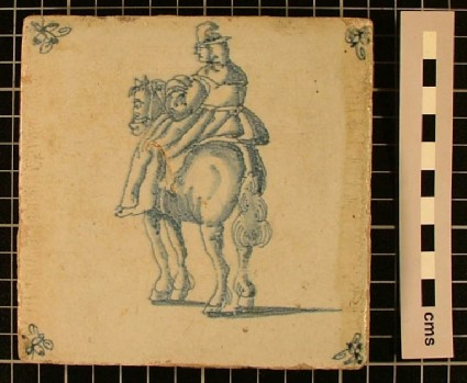Tile with lady riding side saddle