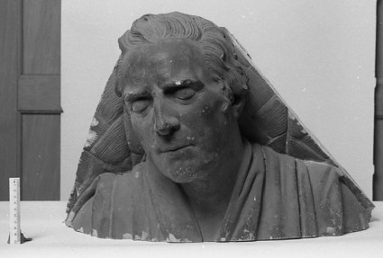 Statue of Sir Hugh Inglis (1744-1820), fragment, head, shoulders and portion of a mattress only