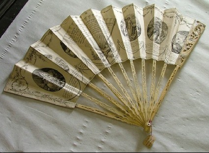 Folding fan of paper showing The Lady's Adviser, Physician and Moralist