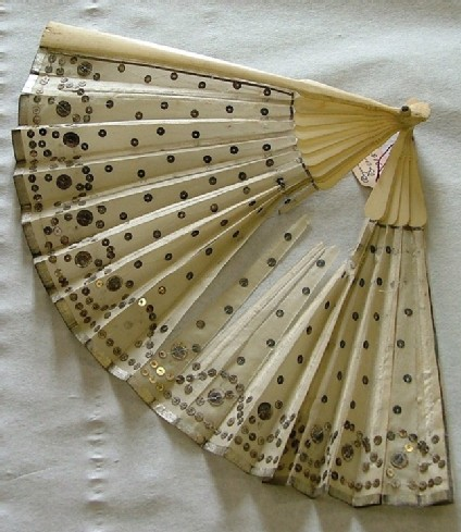 Folding fan of white silk with silver border