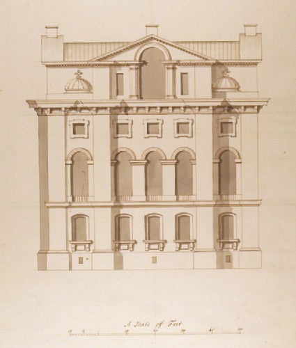Side elevation of a rectangular building attached to the Selden End