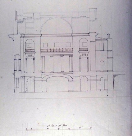 Design for the Radcliffe Library: section of a rectangular building attached to the Selden End, looking north