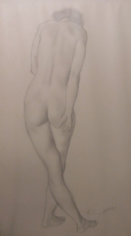 Study of a Nude Female Model, seen from behind