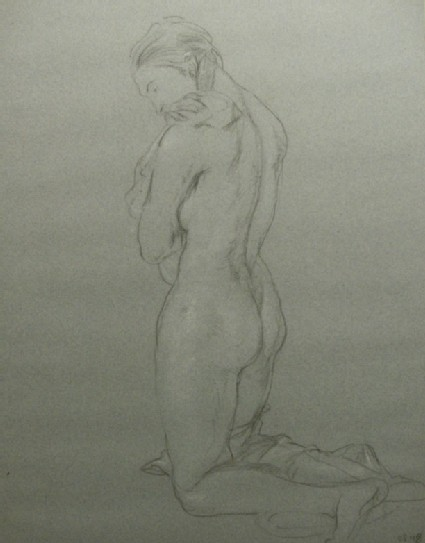 Study of a Nude Woman kneeling