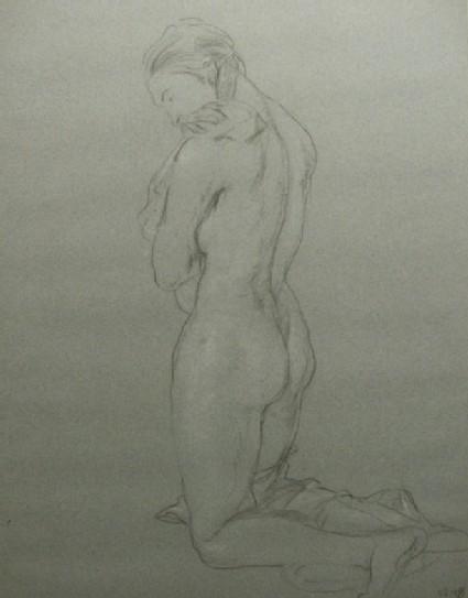Study of a Nude Woman kneeling