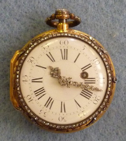 Gold and enamel diamond-set watch with enamelled scene with a Musical Party