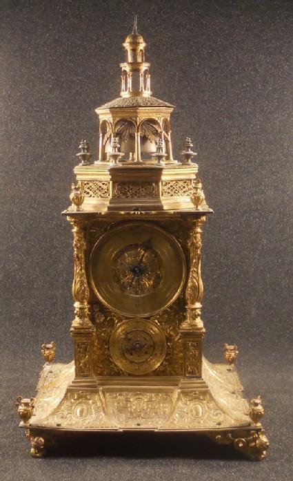 Gilt-brass tabernacle clock