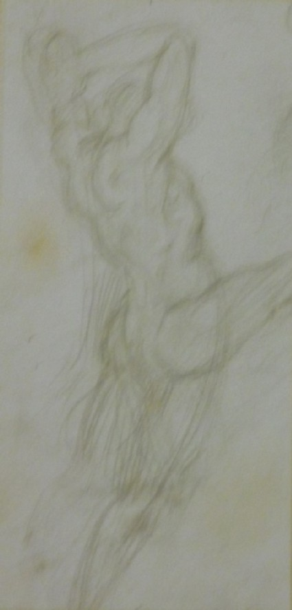 Study of a nude Man about to strike with a Two-Handed Sword