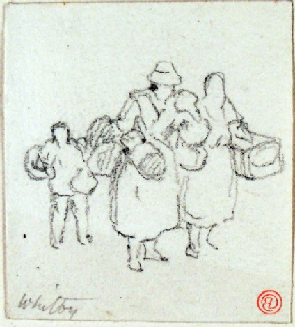 Whitby, three figures carrying boxes