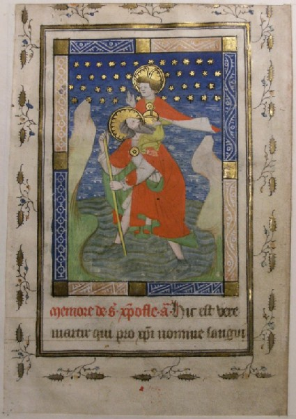 Recto: St Christopher bearing Christ, from a Book of Hours<br />Verso: extensive inscription