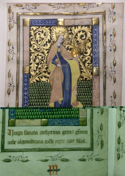 Recto: St Catherine of Alexandria, from a Book of Hours<br />Verso: extensive inscription