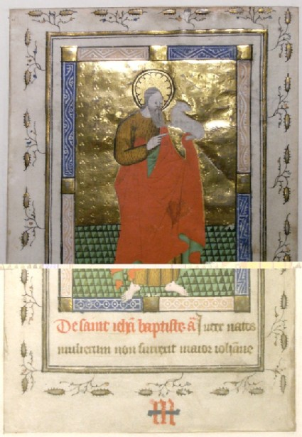 Recto: St John the Baptist, from a Book of Hours