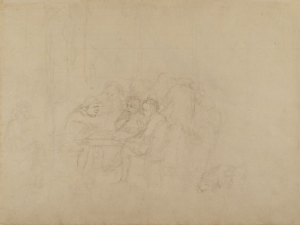 Recto: Sketch for the 'Village Politicians'