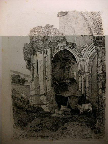 Ruined abbey with cattle, possibly Kirkham Priory in York