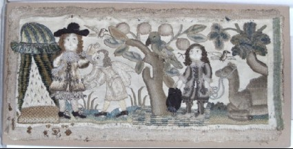 Embroidered panel with Old Testament scene, probably the story of Isaac