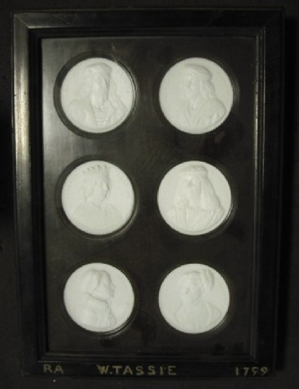 6 glass medallions of Scottish Kings, mounted within one framed box