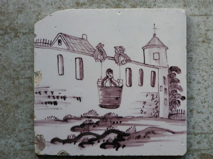 Tile with St Paul lowered in a basket over the city wall of Damascus