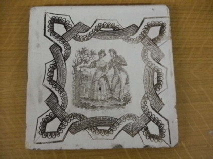 Tile with Regency couple in front of house