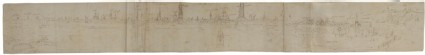 Recto: Preliminary Sketch for a View of Bruges from the South-West<br />Verso: Sketches of buildings