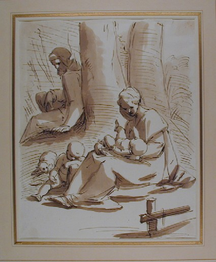 The Holy Family with the Infant St John resting by two Trees