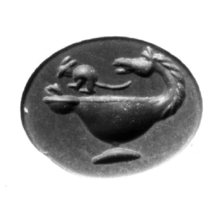 Intaglio gem, mouse on horse-headed lamp
