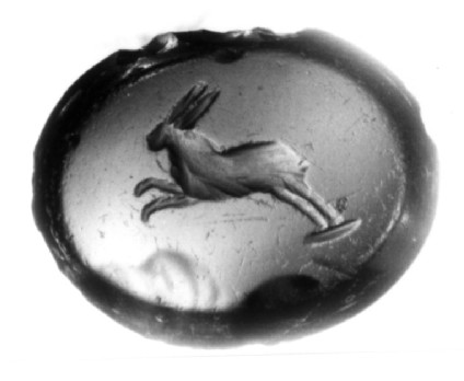 Intaglio gem depicting a running hare in profile