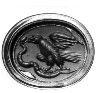 Red jasper intaglio gem, eagle grasping at a wriggling snake
