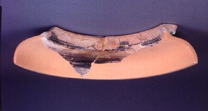 Attic black-figure pottery dinos fragment depicting a naval scene