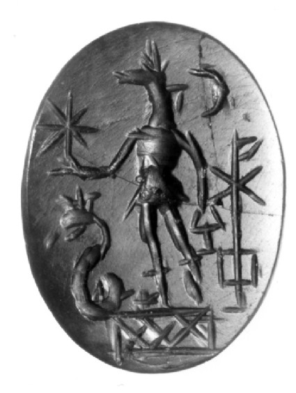 Magical intaglio, jackal-headed Anubis