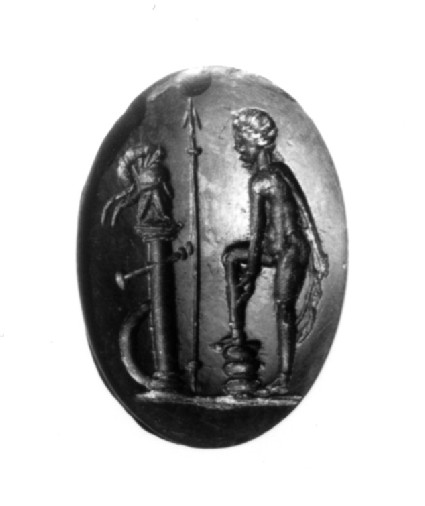 Intaglio gem, Achilles, with the armour obtained by his mother Thetis