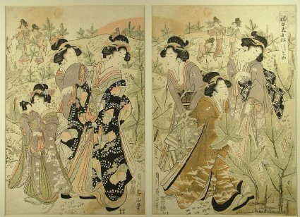 Geisha and her party of women in a field of young pines