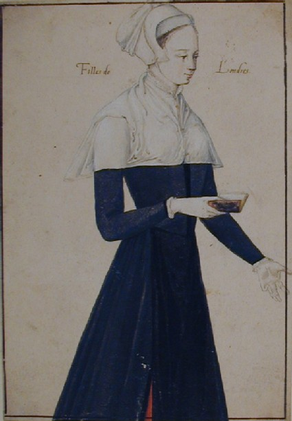 Young Englishwoman holding a book, turned three-quarters to the right