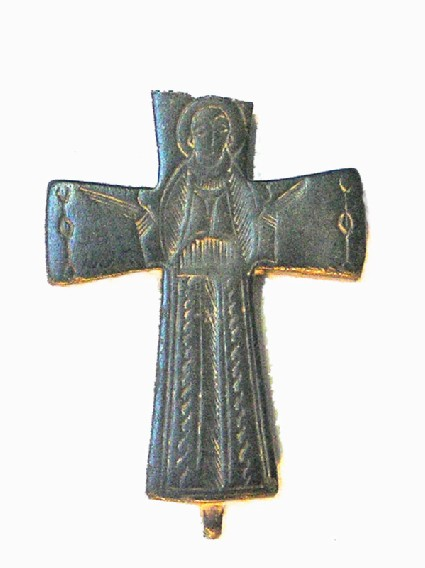 Greek cross with full length figure of a saint on face