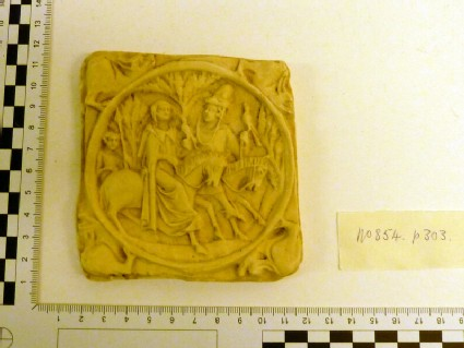 Plaster cast of carved ivory relief of mirror case