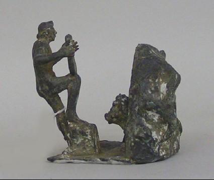 Bronze statuette: Orpheus charming Cerberus