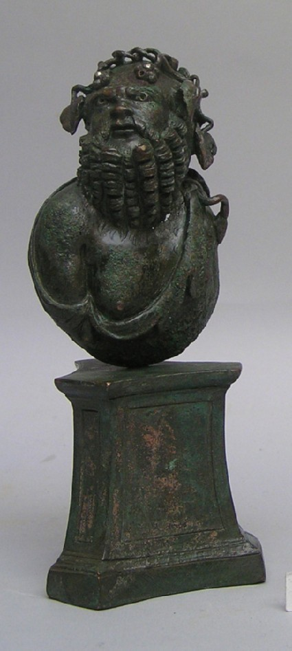 Bronze bust of Silenus on pedestal