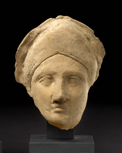 Head of female with diadem-shaped headband, terracotta figure fragment