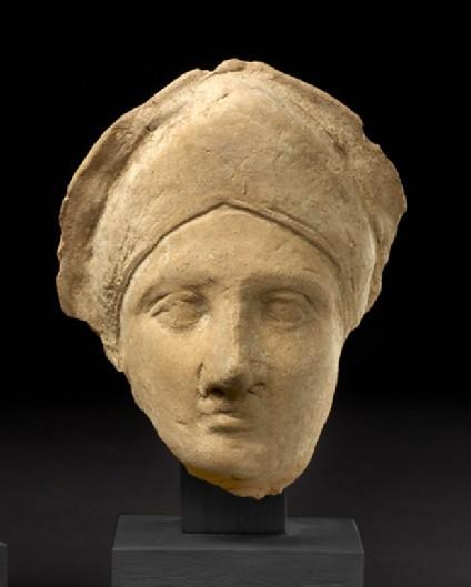 Head of female with diadem-shaped headband, terracotta figure fragment
