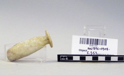 Elongated marble oil flask, alabastron