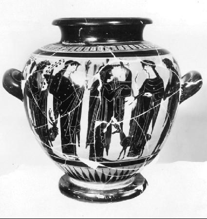 Attic black-figure pottery stamnos depicting a mythological scene