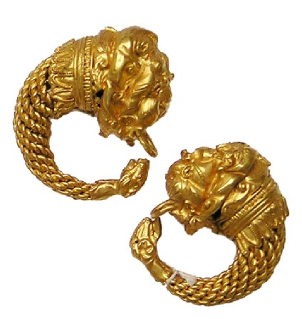 Pair of twisted gold hoop earrings with lion head terminals