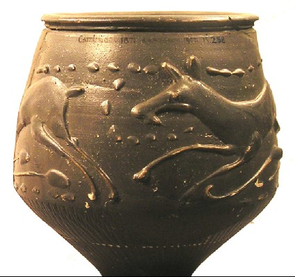 Beaker made in the Nene Valley, decorated in barbotine with fleeing deer