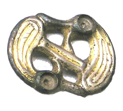 S-shaped double animal head gilt silver brooch