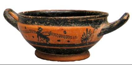 Black-figure skyphos, red ware with black bands, palmettes and female figure, ring foot